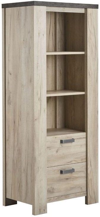 Boekenkast Satriani Uitgevoerd in de kleur light grey eiken decor met bovenblad in betonlook, 2 laden. Kasten Profijt Meubel Lowik Meubelen Vriezenveen