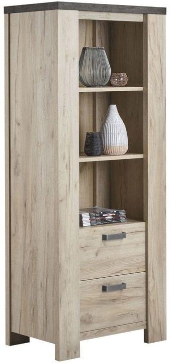 Boekenkast Satriani Uitgevoerd in de kleur light grey eiken decor met bovenblad in betonlook, 2 laden. Kasten Profijt Meubel Lowik Meubelen meubelboulevard
