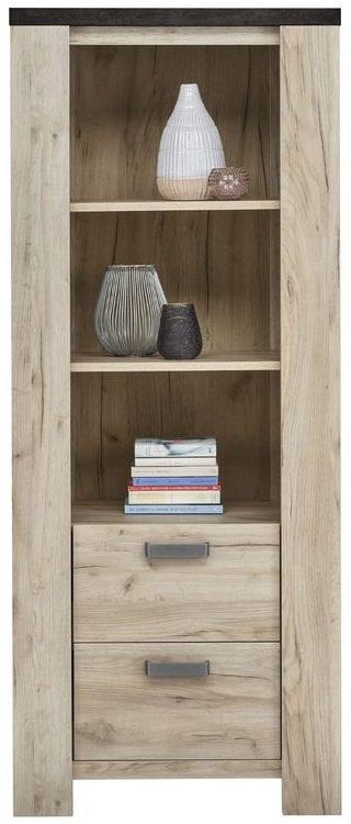 Boekenkast Satriani Uitgevoerd in de kleur light grey eiken decor met bovenblad in betonlook, 2 laden. Kasten Profijt Meubel Lowik Meubelen