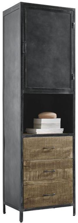 Boekenkast met deur Calde Uitgevoerd in mangohout in de kleur lichtbruin en old grey metal frame, met 1 deur, 3 laden en 1 open vak. Kasten Profijt Meubel Lowik Meubelen meubelboulevard