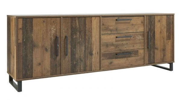 Dressoir Calau Uitgevoerd in de kleur mixed plank met 3 deuren en 3 laden.