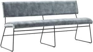 Eetbank Salido 170cm niagara Uitgevoerd in stof adore 158-niagara met vlindernaad en zwart gepoedercoat metalen frame.
