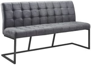Eetbank Tarlow antraciet 160cm Uitgevoerd in stof soft antraciet met capiton stiknaden op de voor- en achterzijde en zwart metalen frame.
