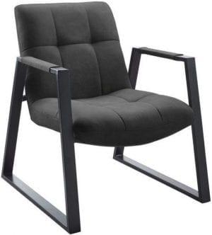 Fauteuil Kyoto grey Uitgevoerd in stof cowboy 104-grey met een mat zwart gepoedercoat metalen frame.