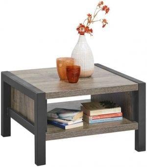 Hoektafel Cavinti Uitgevoerd in de kleur claywood met zwart metalen frame.
