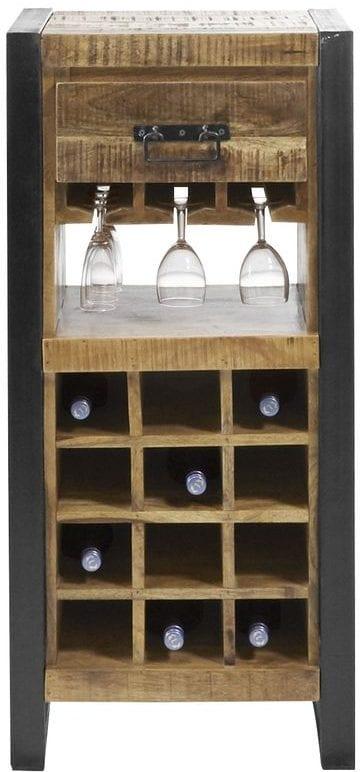 Wijnrek Semora Uitgevoerd in massief mangohout naturel vernist en metalen frame, met 1 lade en 16 open vakken. Kasten Profijt Meubel Lowik Meubelen woonboulevard