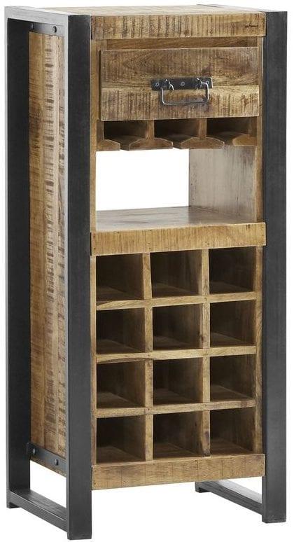 Wijnrek Semora Uitgevoerd in massief mangohout naturel vernist en metalen frame, met 1 lade en 16 open vakken. Kasten Profijt Meubel Lowik Meubelen Vriezenveen
