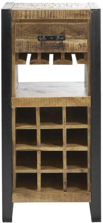 Wijnrek Semora Uitgevoerd in massief mangohout naturel vernist en metalen frame, met 1 lade en 16 open vakken. Kasten Profijt Meubel Lowik Meubelen