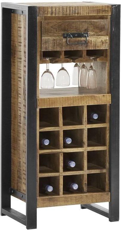 Wijnrek Semora Uitgevoerd in massief mangohout naturel vernist en metalen frame, met 1 lade en 16 open vakken. Kasten Profijt Meubel Lowik Meubelen meubelboulevard