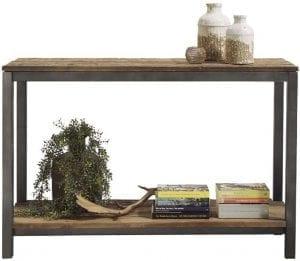 Wandmeubel Kempton Uitgevoerd in Canyon wood met onderblad en zwart metalen frame.