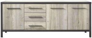 Dressoir Diago silver decor uit de woonprogramma Pronto Wonen Lowik Meubelen Uitgevoerd in Lamulux met silver decor in combinatie met antraciet metalen frame, met 3 deuren en 3 laden.