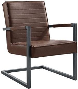 Fauteuil Caldes dark brown uit de fauteuils Pronto Wonen Lowik Meubelen Uitgevoerd in lederlook (old PU) donkerbruin CH0305 met old metal look frame.