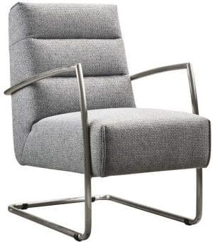 Fauteuil Canini grey uit de fauteuils Pronto Wonen Lowik Meubelen Uitgevoerd in stof forza 5502-grey met geborsteld metalen frame.