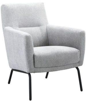 Fauteuil Morato grey uit de fauteuils Pronto Wonen Lowik Meubelen Uitgevoerd in stof page 65-grey met zwart metalen frame.