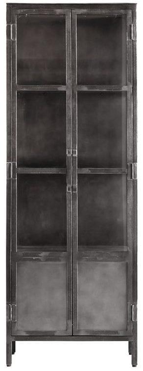 Vitrinekast Carpino uit de woonprogramma Pronto Wonen Lowik Meubelen Uitgevoerd in metaal met glas, afgewerkt met Patina verf (antique finish), met 2 deuren.