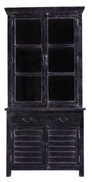 Vitrinekast Curone mangohout black wash uit de overige woon-en zitkamermeubelen Pronto Wonen Lowik Meubelen Uitgevoerd in massief mangohout in de kleur black wash-5, met 2 deuren, 2 laden en 2 glazen schuifdeuren.