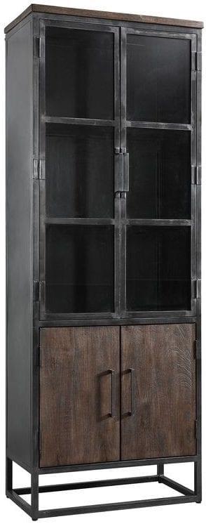 Vitrinekast Metvint mangohout uit de woonprogramma Pronto Wonen Lowik Meubelen Uitgevoerd in mangohout met metalen frame, met 2 deuren en 2 glasdeuren.