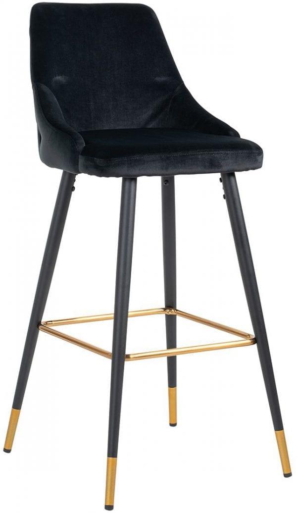 Barstoel Imani Black Velvet / Fire Retardant (Quartz Black 800) - Richmond Interiors - Imani is een velvet barstoel met gouden details. Deze elegante barstoel betoverd elke ruimte. Perfect voor een elegante borrel of een doordeweekse maaltijd. - Löwik Wonen & Slapen Vriezenveen