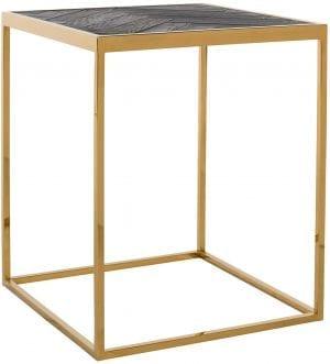 Bijzettafel Blackbone goud 50x50  Top: Oak