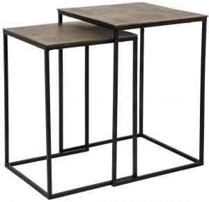 Table Finn square set of 2 champion gold  Aluminium, uit de Tafels collectie - Salontafels - Löwik Wonen & Slapen Vriezenveen