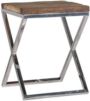 Bijzettafel Kensington 45x45  RVS/Recycled hout, uit de Shiny Kensington, Bestsellers collectie - Salontafels - Löwik Wonen & Slapen Vriezenveen