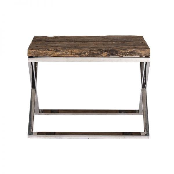 Bijzettafel Kensington 60x60  RVS/Recycled hout, uit de Shiny Kensington, Bestsellers collectie - Salontafels - Löwik Wonen & Slapen Vriezenveen