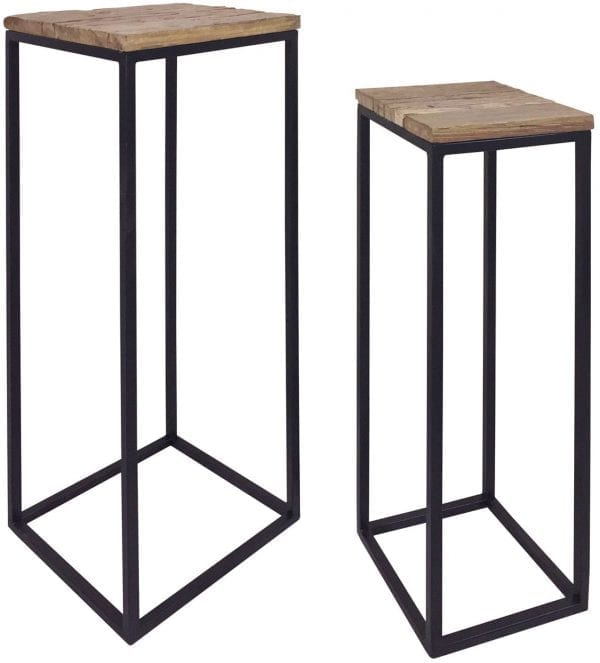 Pillar Raffles set van 2  Top: Recycled wood