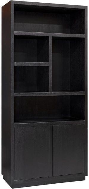 Boekenkast Oakura 2-deuren Zwart Frame: Eiken fineer, uit de Oakura collectie - Boekenkasten - Löwik Wonen & Slapen Vriezenveen