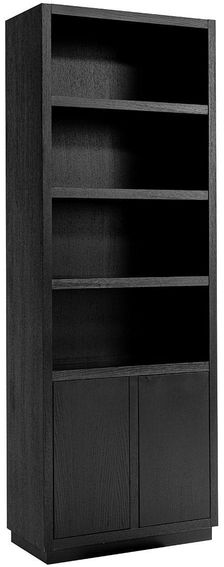 Boekenkast Oakura 2-deuren smal Zwart Frame: Eiken fineer, uit de Oakura collectie - Boekenkasten - Löwik Wonen & Slapen Vriezenveen