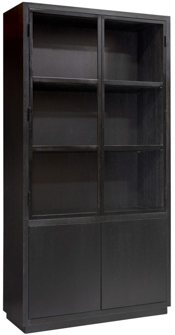 Buffetkast Oakura 2x2-deuren Zwart Base: Oak veneer/Iron, uit de Oakura collectie - Buffetkasten - Löwik Wonen & Slapen Vriezenveen