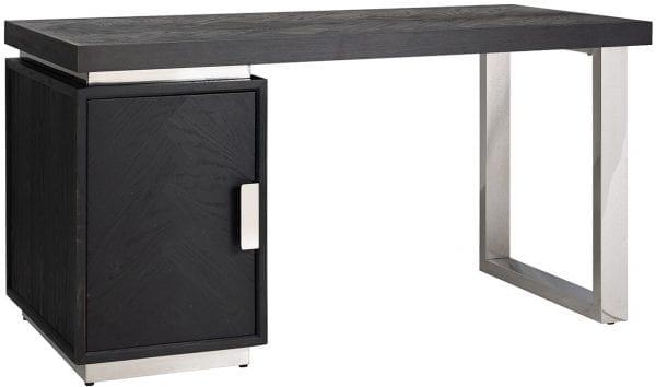 Bureau Blackbone silver 1-deur  Top: Eiken