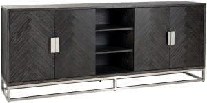 Dressoir Blackbone silver 4-deuren  Top: Eiken