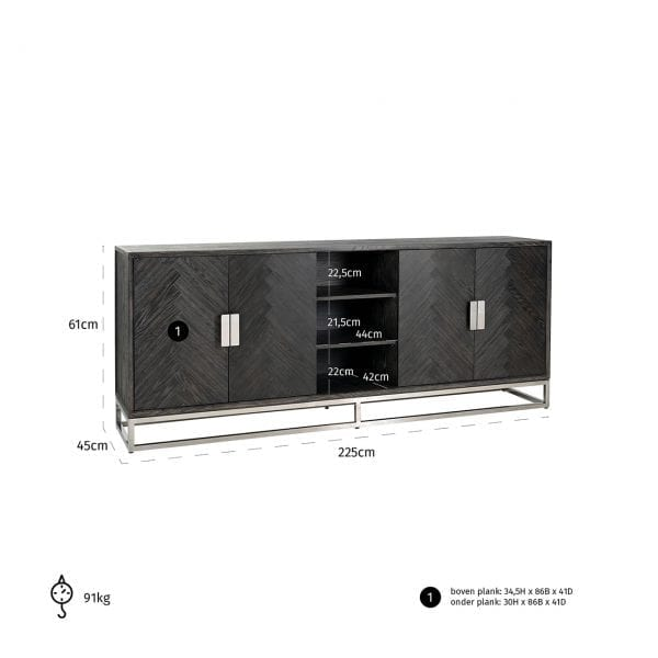 Frame: RVS, uit de Blackbone Silver collectie - Dressoirs - Löwik Wonen & Slapen Vriezenveen