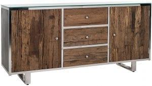 Dressoir Kensington 2-deuren 3-laden  Top: Recycled Wood/Glass