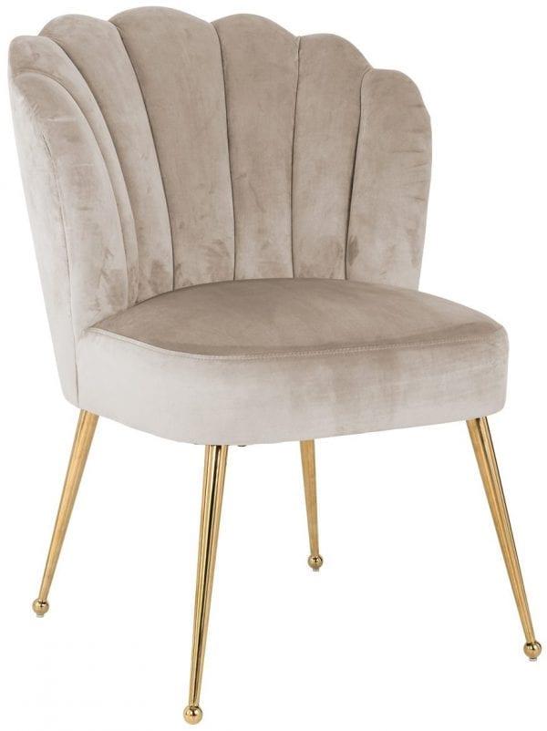 Stoel Pippa Khaki velvet / gold  Fabric: Quartz Khaki 100% Polyester / Stainless Steel silver, uit de Stoelen collectie - Eetkamerstoelen - Löwik Wonen & Slapen Vriezenveen