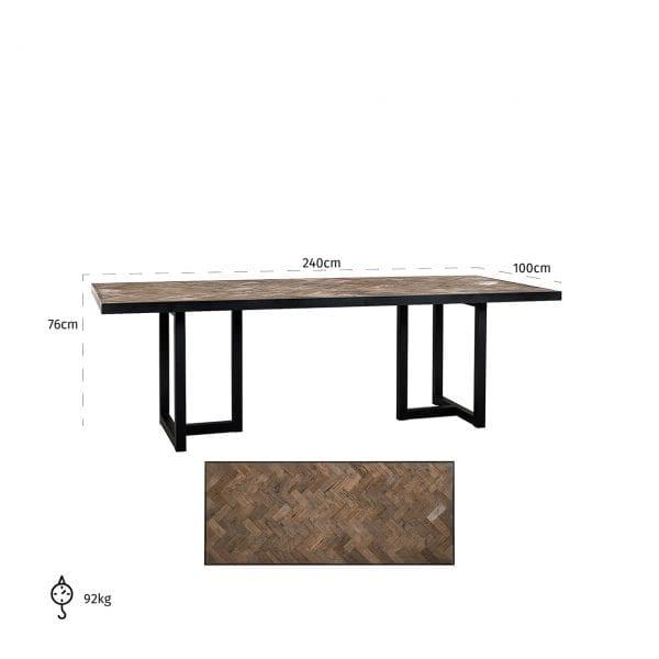 Eettafel Herringbone 240  Top: Old oak