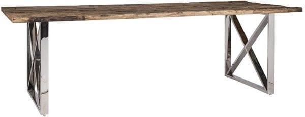 Eettafel Kensington 200x100  RVS/Recycled hout, uit de Shiny Kensington, Bestsellers collectie - Eettafels - Löwik Wonen & Slapen Vriezenveen