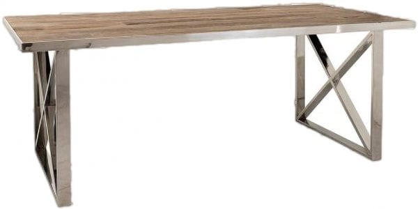 Eettafel Redmond 200x100 met kruispoten  Top: Old Elm wood Natural