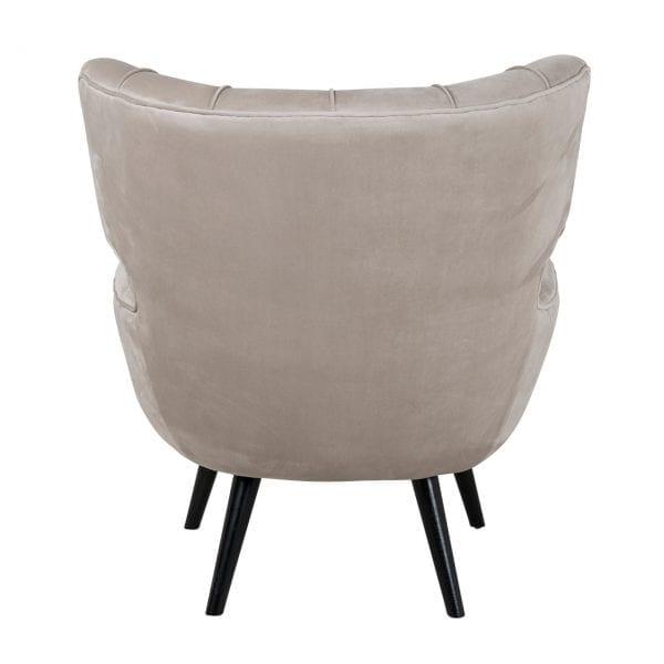 Fauteuil Emily Khaki velvet Khaki Velvet Stof: 100% Polyester/ Poten: hout, uit de Stoelen collectie - Fauteuils - Löwik Wonen & Slapen Vriezenveen