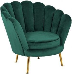 Fauteuil Perla Green Velvet  Fabric: Quartz Green 100% Polyester, uit de Stoelen collectie - Fauteuils - Löwik Wonen & Slapen Vriezenveen