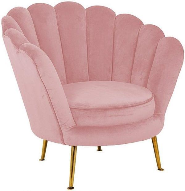 Fauteuil Perla Pink Velvet  Fabric: Quartz Pink 100% Polyester, uit de Stoelen collectie - Fauteuils - Löwik Wonen & Slapen Vriezenveen
