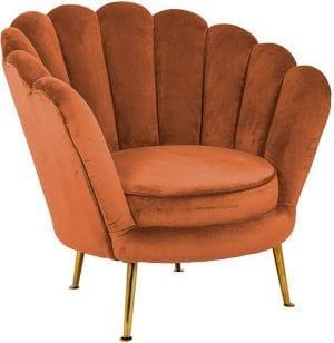 Fauteuil Perla Rust Velvet  Fabric: Quartz Rust 100% Polyester, uit de Stoelen collectie - Fauteuils - Löwik Wonen & Slapen Vriezenveen