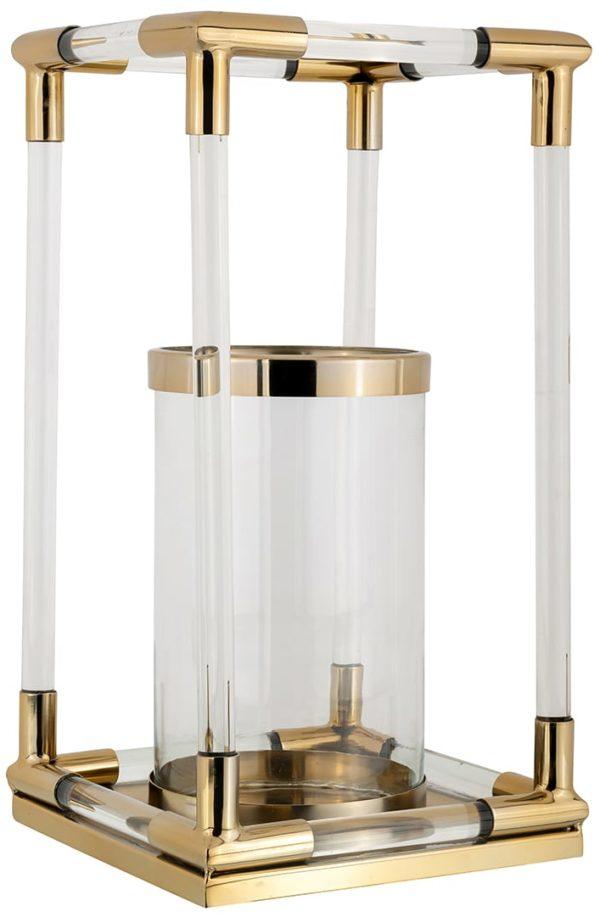 Windlicht Bartley goud groot  Glas/Staal, uit de Richmond Decoration collectie - Windlichten - Löwik Wonen & Slapen Vriezenveen