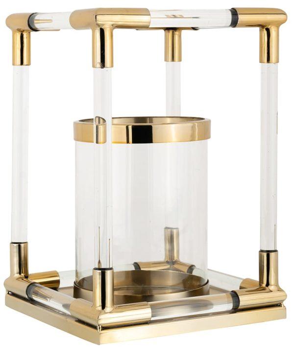Windlicht Barton goud klein  Glas/Staal, uit de Richmond Decoration collectie - Windlichten - Löwik Wonen & Slapen Vriezenveen