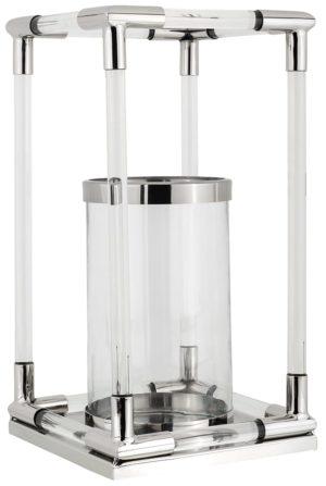 Windlicht Benson zilver groot  Glas/Staal, uit de Richmond Decoration collectie - Windlichten - Löwik Wonen & Slapen Vriezenveen