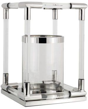 Windlicht Bradney zilver klein  Glas/Staal, uit de Richmond Decoration collectie - Windlichten - Löwik Wonen & Slapen Vriezenveen