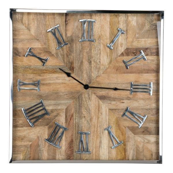 Clock Aiden Square  Mango wood / Stainless Steel, uit de Richmond Decoration collectie - Klokken - Löwik Wonen & Slapen Vriezenveen
