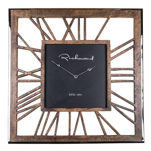 Clock Everson metal square Antraciet/Hout Aluminium/mangohout, uit de Richmond Decoration, Bestsellers collectie - Accessoires - Löwik Wonen & Slapen Vriezenveen