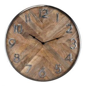 Clock Jayden  Mango wood / Stainless Steel, uit de Richmond Decoration collectie - Klokken - Löwik Wonen & Slapen Vriezenveen
