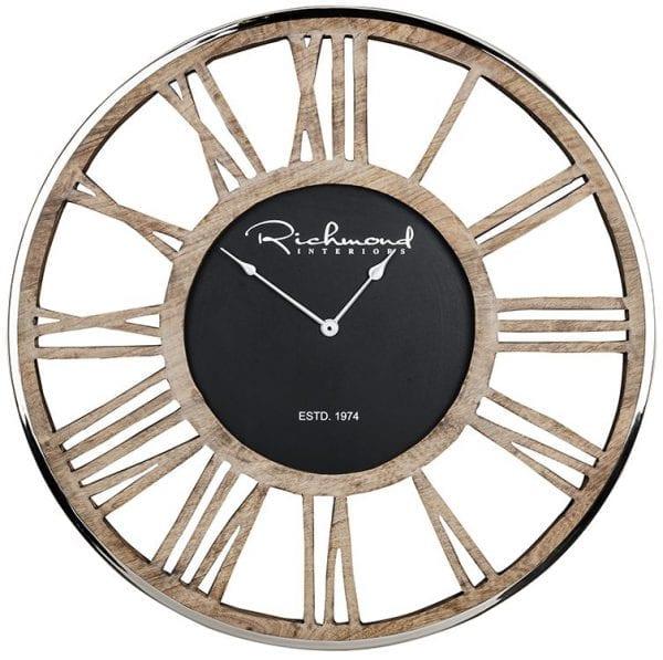 Clock Johnson metal Antraciet/Hout Aluminium/mangohout, uit de Richmond Decoration, Bestsellers collectie - Accessoires - Löwik Wonen & Slapen Vriezenveen